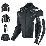 A-Pro Giacca Motocicletta/Bici/corsa con Protezioni CE, fodera termica, bianco e nero, M