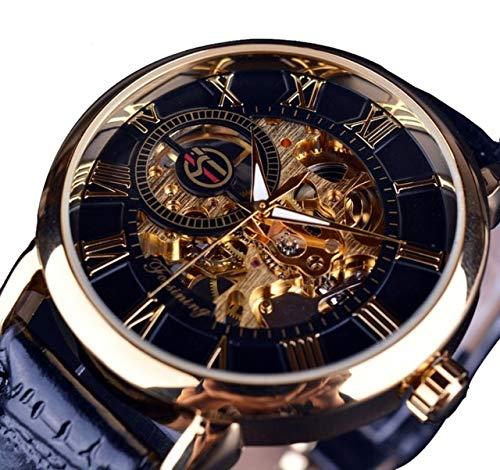 Forsining Retro Golden 3D Roman Number Transparent Men Mechanical Skeleton Watch Luxury Openwork Wristwatch