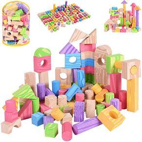Spielwerk 100 Bloques de construcción de Espuma para niños Juguete Ladrillos Coloridos con diversas Formas Efecto Madera