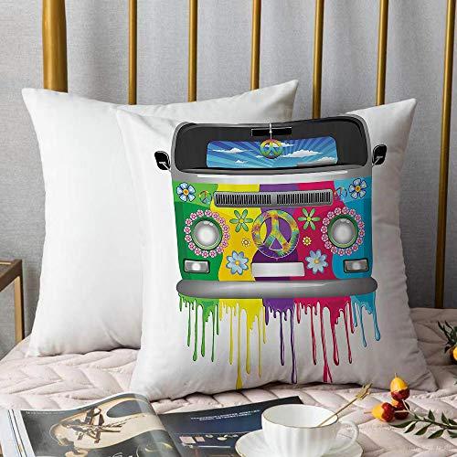 Creativo copricuscino,Groovy ations Set, Hippie Van Dripping Rainbow Paint Good Old Days Pop Culture...