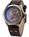 AMPM24 Vintage Bronze Case Automatic Mechanical Skeleton Brown Leather Band Mens Sport Watch + AMPM24 Gift Box PMW368