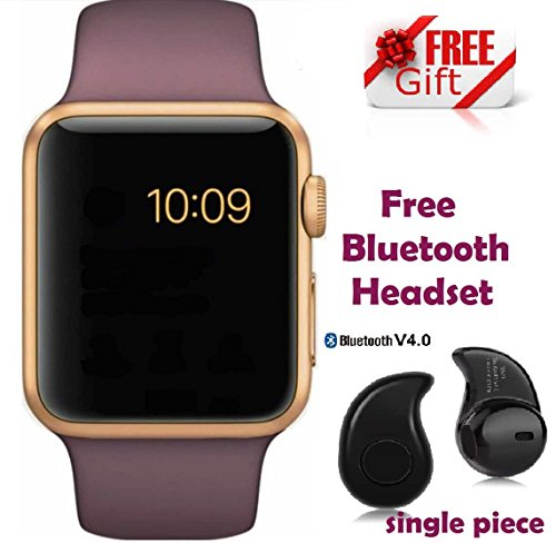 Premium Design Apple iPhone 6S Plus Compatible Bluetooth Smart Watch GT08 Phone With Camera and Sim Card & SD Card Support with free Bluetooth Headset (Random Colour)