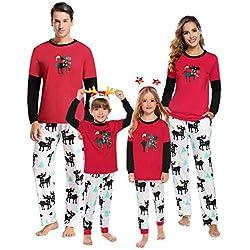 Aibrou Pijama de Navidad Familia Set Algodón,Invierno Casual Ropa de Dormir Mujer Hombre Niños