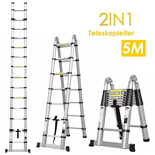 FIXKIT 5M Alu Teleskopleiter Klappleiter ausziehbare Leiter Teleskop-Design 150 kg Belastbarkeit
