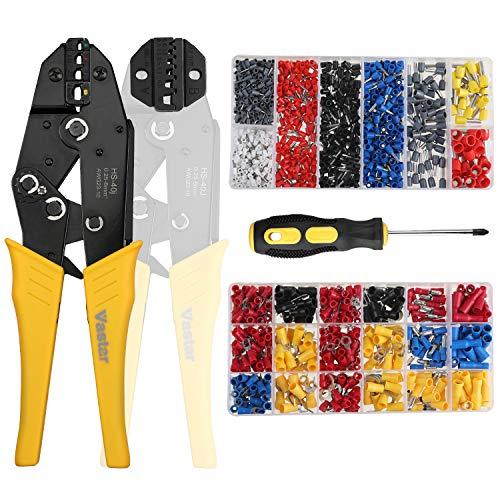 Vastar Crimpzange Set Kabelschuhzange und Aderendhülsen 2 in 1 Crimpzange mit 370 Stück Elektrische Steckverbinder 800 Stück Aderendhülsen und ein Schraubendreher