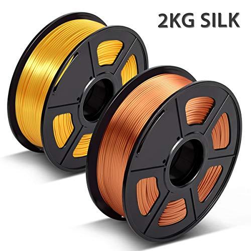 PLA Silk Glühfaden, 3D Drucker Filament Shinny Silk, 3D Warhorse Silk PLA 1.75mm,Dimensional Accuracy +/- 0.02 mm,2 KG (4.4lbs) Spool,(Seidenrotkupfer + Seidenhellgold)