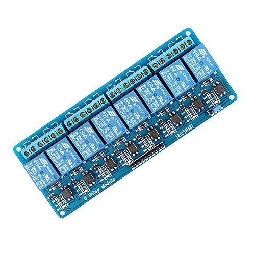 caratteristiche:  Questo relè modulo 5V è attivo basso.  Questo è un relè scheda di interfaccia 8 canali, che può essere controllato direttamente da una vasta gamma di microcontrollori come Arduino, AVR, PIC, ARM, PLC, etc.  È inoltre in grad...