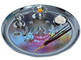 Kuber Industries™ Stainless Steel Pooja Thali with Ganesh Laxmi Saraswati Colorful Print, Insence Holder Diya and Bowl (Attached)- 12 Inches (POJ04)