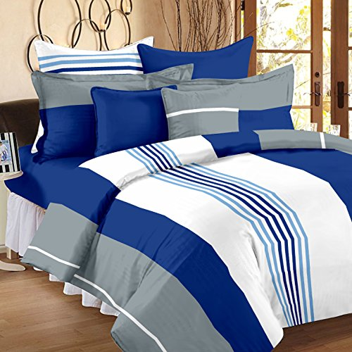 Ahmedabad Cotton Basics 136 TC Cotton Double Bedsheet with 2 Pillow Covers - Multicolour