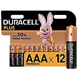 Duracell Plus AAA Alkaline Batteries, 1.5 V LR03 MN2400, Pack of 12