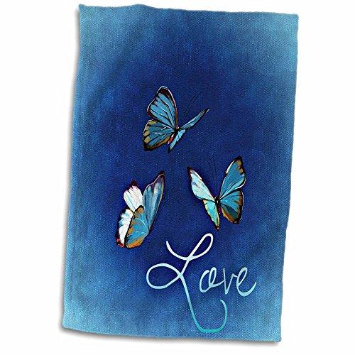 3dRose Love Style - Toalla con diseño de Mariposa y Fondo Azul, Color Blanco, 38 x 55 cm