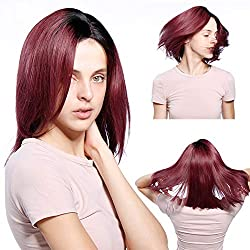 Ombre Human Hair Bob Wig Middle Part Front Lace Wig Yaki Straight Short Hair Shoulder Long Grade 8A Virgin Hair Color Black to Red Cheap Wig for Women 12 inch