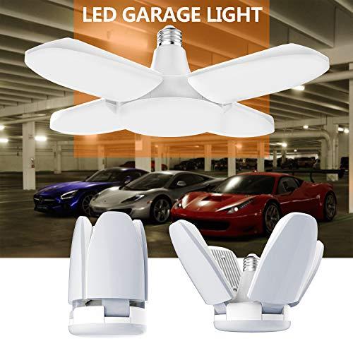 Gezee Lampada da Garage a LED, 48W E27 6500K 4800Lm, Lampada da Negozio Deformabile Con 4 Pannelli...