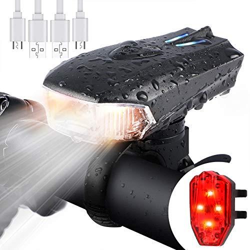WOSTOO Luce della Bici del LED, Set di luci per la Bicicletta USB con 5 modalità Luce, Batteria al...
