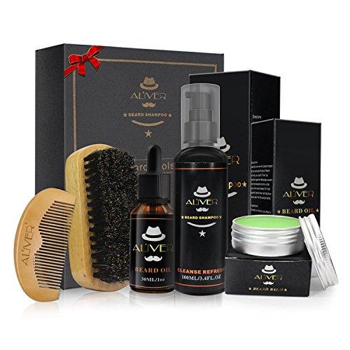 ALIVER Kit per la cura della barba, Kit per la barba, Olio per barba + Balsamo per barba + Shampoo per barba + Spazzola per barba + Pettine per barba per barba da barba per uomo.