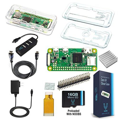 Vilros Raspberry Pi Zero W Complete Starter Kit - Clear Case Edition - Include Pi Zero W e 7Accessori Essenziali