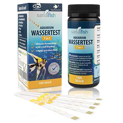Sanafish Wassertest Aquarium 7-in-1 – Wassertester fürs Aquarium auf GH, KH, pH, NO3, NO2, freies Cl, Gesamtalkalinität – 100 Teststreifen in Dose - inkl. gratis E-Book