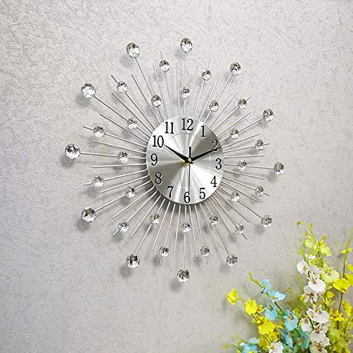 WWGZ Orologio da Parete in Metallo,Moderna Tonda Design Orologio di Diamanti,Decorazione Orologio da Parete Soggiorno e Camera da Letto-Silver 45x45cm(18x18inch)