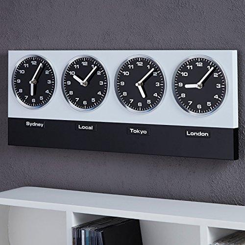 GLOBAL-Orologio da parete in stile moderno, con 4 orologi, Xtradefactory, in argento, colore: nero