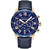 BERSIGAR Waterproof Chronograph Watches Business Casual Roman Numerals Leather Band Wrist Watch for Men (Blue)