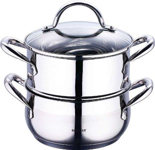 damfgarer ad induzione in acciaio inox, 3Set di pentole con coperchio in vetro, cucinare e cuocere...