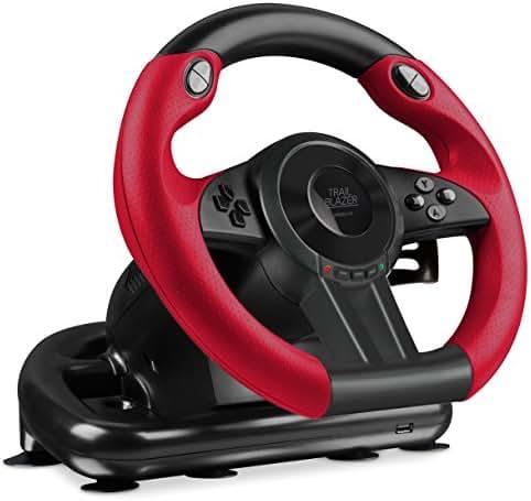Speedlink TRAILBLAZER Racing Wheel - Multiplattform Lenkrad für Xbox One, Playstation 3 + 4, PC (Minimale Schaltzeiten - Status-LEDs - dosierbare Pedale) für Gaming/Konsole/PC/Notebook/Laptop, schwarz