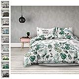 AmeliaHome Averi weiß grün 4tlg Bettwäsche, Baumwolle, Botanique, 2 x 135x200 + 2 x 80x80