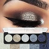sombras de ojos brillantes, AIMEE7 5 Color Shimmer Glitter Eye Shadow Maquillaje cosmético del sombreador de ojos mate de la paleta del polvo (A)