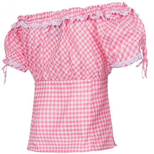 PAULGOS Trachtenbluse Kariert in 7 Farben Gr. 34-50 Carmenbluse, Damen Größe:36, Farbe:Pink - 2