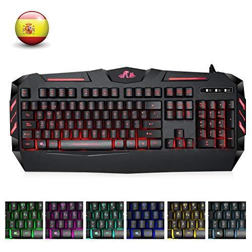 Rii RK900 Teclado Multimedia Gaming con sensibilidad mecánica, 7 Colores...