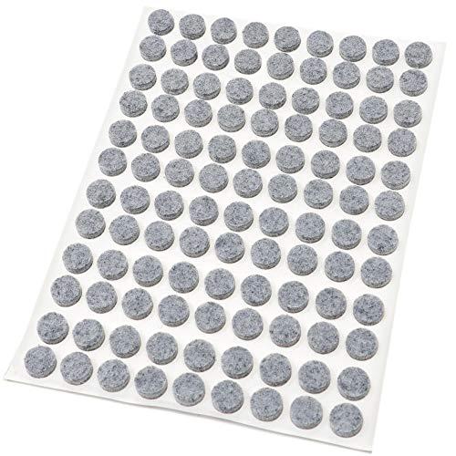 108 x Feltrini | Ø 10 mm | grigio | tondi | Piedini mobili in feltro autoadesivo di 3.5 mm di...