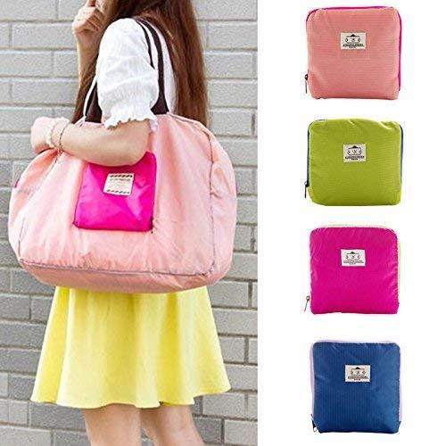 Koyet 1Pcs Nylon Street Shopper Shoulder Foldable Bag || Food Bag || Picnic Folding Insulated Organizer Bag || Gym Bag || Shopping Bag with Zipper Closing (Random Color)