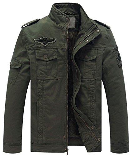 WenVen Giacca in Cotone Invernale Stile Militare Uomo Verde Militare Medium