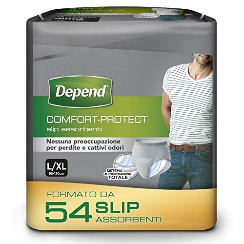 Depend Comfort-Protect Slip Assorbenti Uomo, Taglia L, 54 Slip