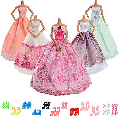 ASIV 5 pezzi Moda Vestito da principessa,12 paia di scarpe Abiti Festa di matrimonio per Bambola...