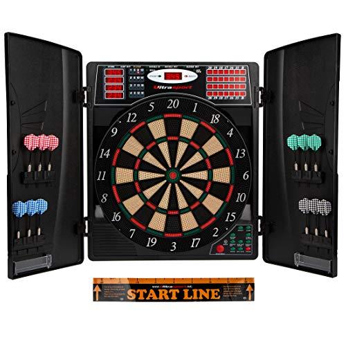Ultrasport elektrisches Dartboard, mit und ohne Türen, Dartautomat für bis zu 16 Spieler, inklusive Abwurfline, 12 Dartpfeile und 100 Soft-Tipps, geeignet für Partys und Spieleabende