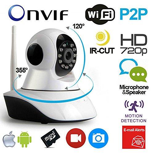 Vetrineinrete Telecamera IP motorizzata wireless hd 720p camera con connessione wifi o lan rj45 con microfono audio led infrarossi e registrazione su micro sd M43