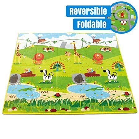 SAMPRI Waterproof Large Size Double Side Big Soft Play Mat with Zip Bag to Carry for Babies (Multicolour, 6 X 5 ft)