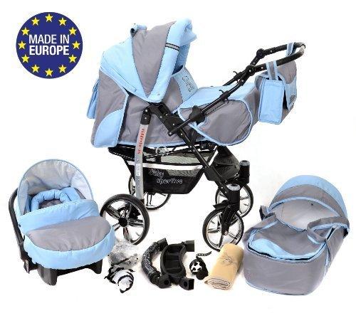 3-in-1 Travel System con carrozzina, seggiolino auto, passeggino sportivo e accessori CON RUOTE...