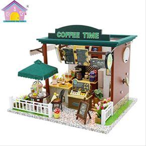 tytlmodel DIY Coffee Time Dollhouse, Miniatura De Madera 3D Mini Linda Casa De Muñecas, Kit De Montaje Educativo Juguete…