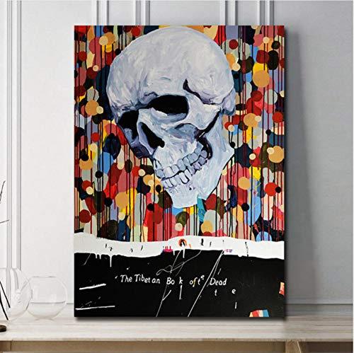 Ilustraciones de calaveras Impresiones en lienzo Pintura al óleo sobre lienzo Arte de la pared Murales Imágenes para la decoración de la sala de estar 40X50 cm, sin marco