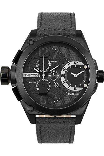 Timecode Herren Chronograph Quarz Uhr mit Leder Armband TC-1016-02