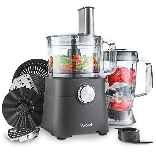 VonShef 750W Küchenmaschine Multifunktions-Standmixer - Mixer, Zerkleinerer, Entsafter, Zitruspresse, Multi Mixer mit Knethaken, Häcksler & Reibe - 1,2 Liter Rührschüssel & 1,8 Liter Mixgefäß