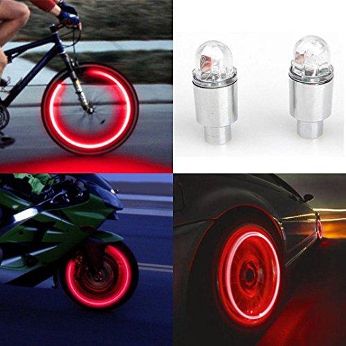 Vovotrade- - Set 2 Copri-valvola a LED per Pneumatico, Leggero, Accessorio per Auto/Bicicletta/Moto...