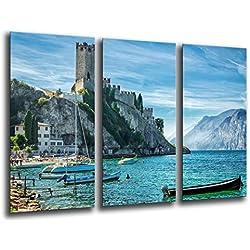 Quadro Su Legno, Paesaggio Lago di Garda Malcesine, 97 x 62cm, Stampa in qualita fotografica. Ref. 26045