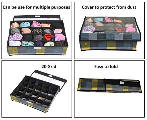 Yellow WeavesTM Undergarments Organizer/Foldable Storage Box with Lid for Drawers, Color - Multi 3