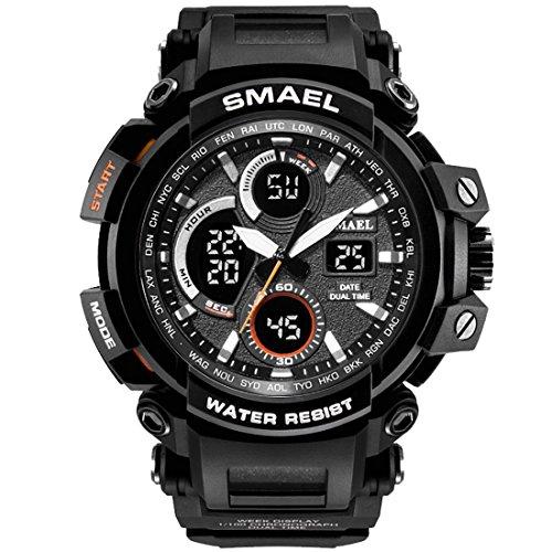 SMAEL Mens Sports Watch, Fashion New Design Watch Analog Digital Watch Sports Wristwatch Military Watch (Black)