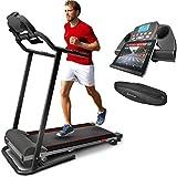 Sportstech Tapis de Course électrique Pliable F10, Compatible Bluetooth, Smartphones, avec Ceinture Cardio, 10 KM/H Autolubrifié Compact et Repliable, 13 Programmes pour Marche, Jogging et Fitness.
