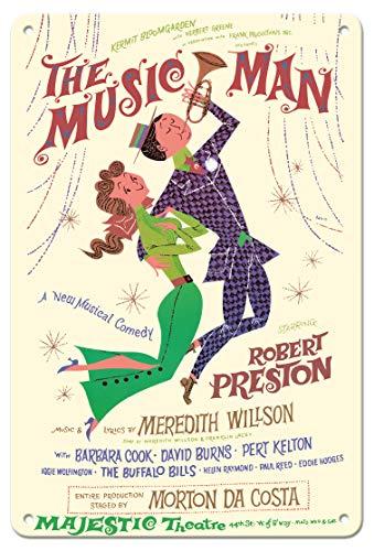 Pacifica Island Art The Music Man-con Robert Preston-Majestic Theatre di Broadway-Vintage Teatro Poster di David Klein c.1957-8inx12in Vintage Tin Sign