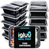 2 Compartment Meal Prep Containers - Reusable BPA Free Plastic Food Storage Trays with Airtight Lids - Microwavable, Freezer and Dishwasher Safe - Stackable Bento Lunch Boxes - Bonus eBook [10 Pack]